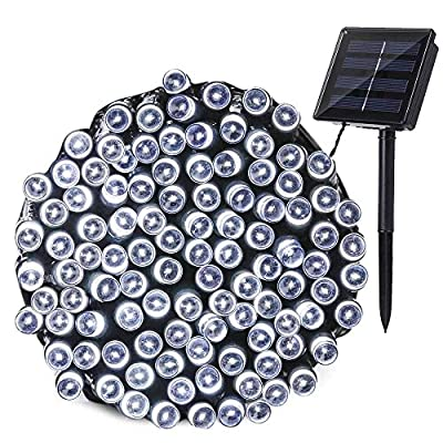 Meedasy 39.4ft/12m 100 LED Solar String Lights, Outdoor & Indoor Fairy Waterproof Decorative Lights with 8 Lighting Modes for Xmas, Home, Lawn, Garden, Patio, Party and Holiday Decorations. (White)