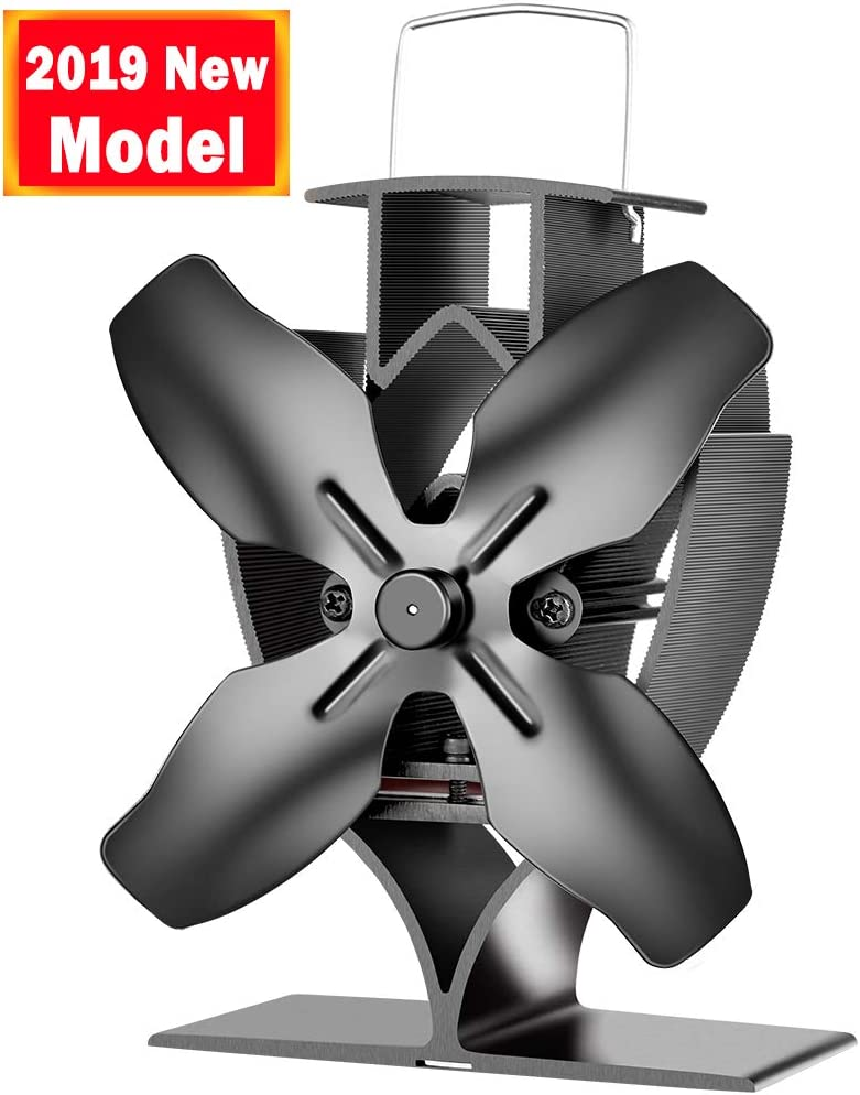 Aobosi ventilador para chimenea para leña, estufa de leña, chimenea, Ventilador de estufa con 4 aspas de rotor y placa de conexión ancha, silencioso y ecológico