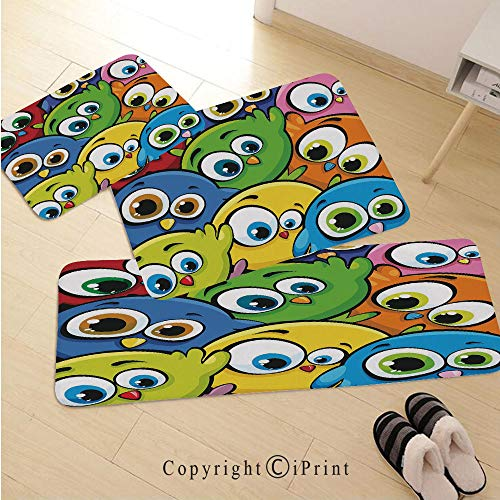 Funny 3D Non-Slip Kitchen Mat Runner Rug Set,3pc Kitchen Rug Set,Cartoon Fat Chubby Birds Baby Kids Nursery Playroom Childish Animal Character Print Decorative,for Entryway Kitchen and Bedroom,Multico ()