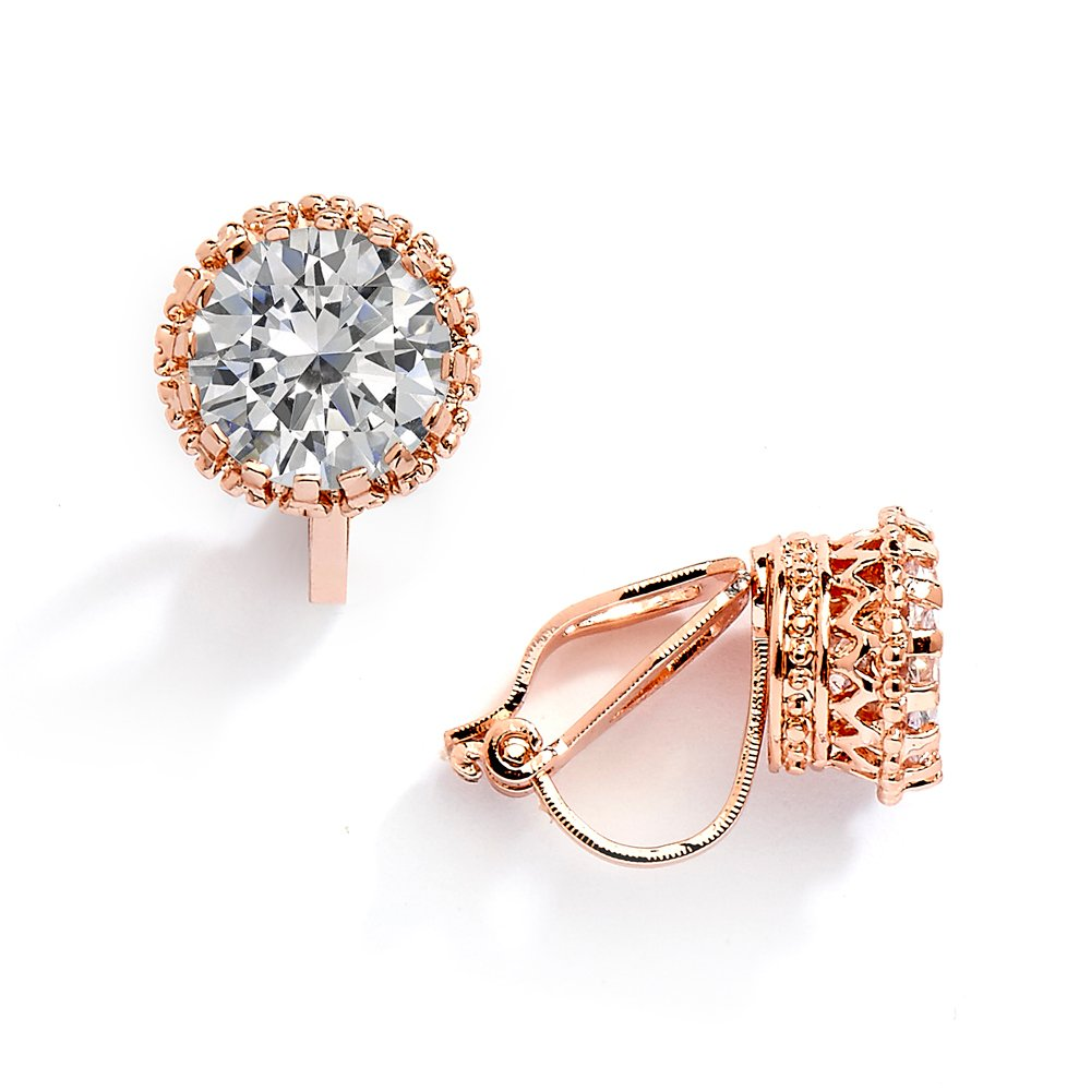 33bbeb5a909a1 Mariell 14K Rose Gold Plated Crown Setting Clip-On Cubic Zirconia Stud  Earrings - 2 Ct. Round Solitaire