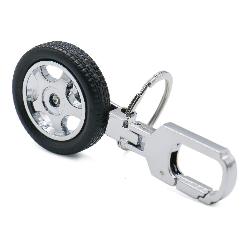 Buorsa 2 Pcs Rotatable Wheel Car Tyre Keyring Key Ring Holder Tire
