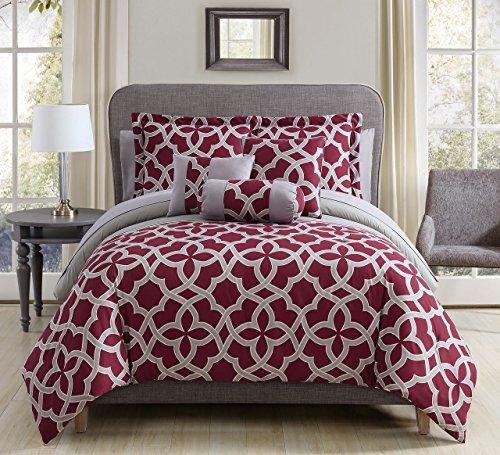 romina burgundy gray comforter set