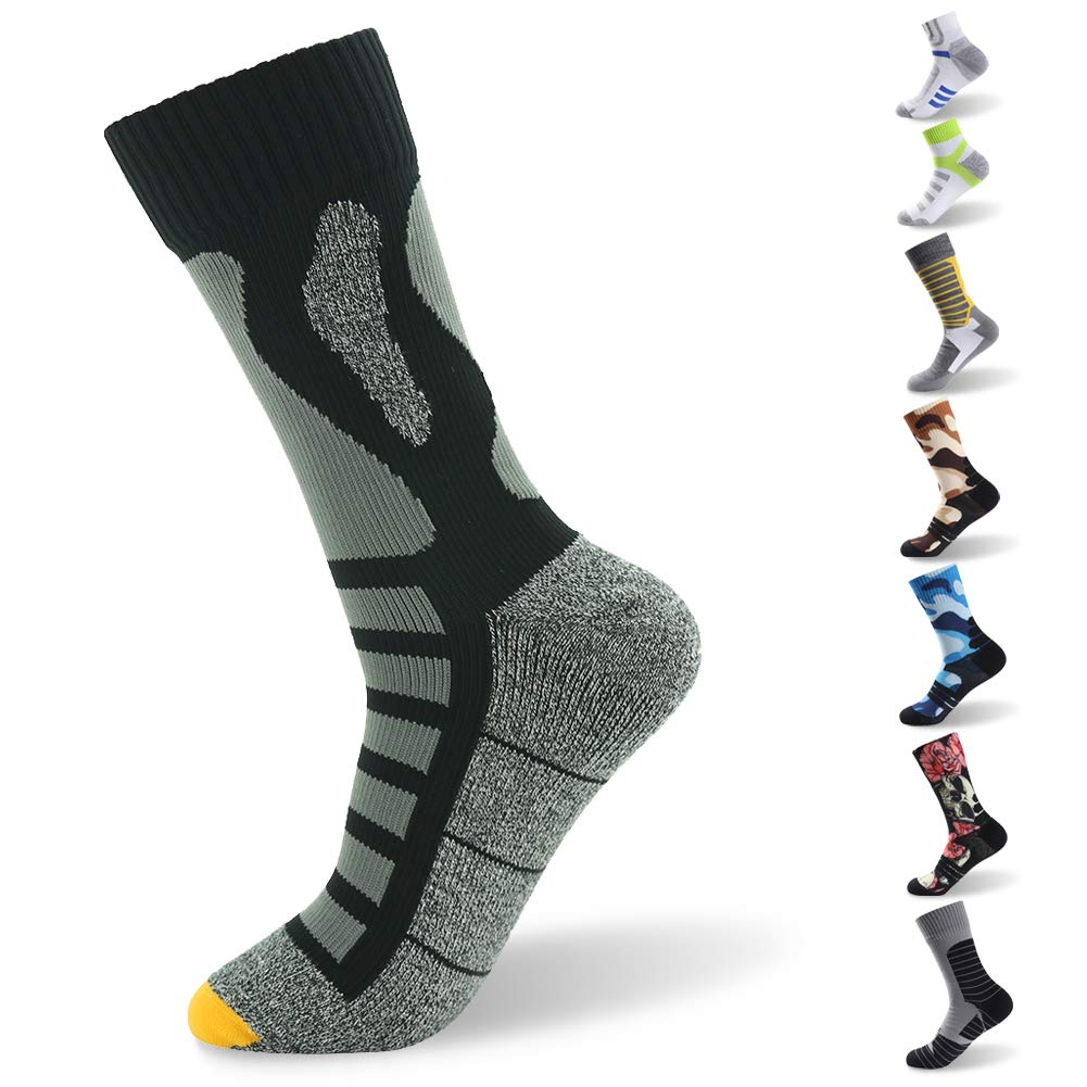 RANDY SUN Climbing Waterproof Socks, [SGS Certified] Men's High Quantity Highly Breathable Mid Calf Socks for Sports Black & Gray Small