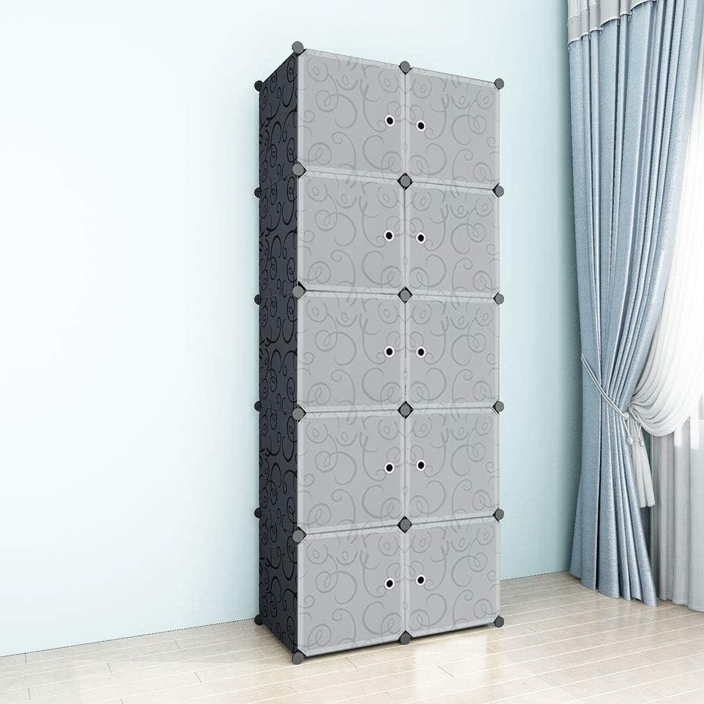 SIMPDIY Space-Saving Multifunction Sturdy Plastic Storage Organizer Shelves Bookshelf Black (10 Cubes 72x36x180cm/28x13x71In)