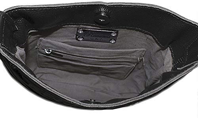Raviani Cross Body Fringe Bag in Brown /& White Hair on Cowhide /& Silver Studs
