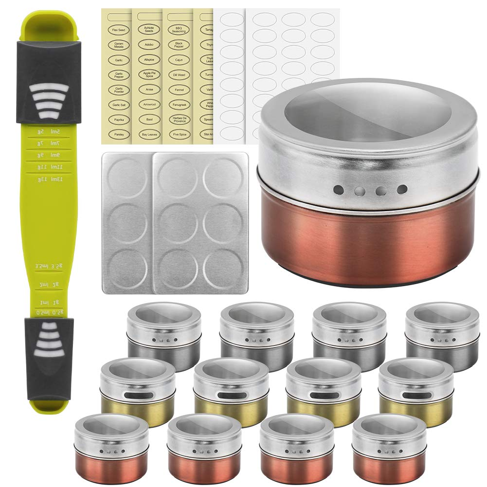Magnetic Spice Tins, 12 Spice Jars, Organizer Storage with Spice Labels, 3 Colors Condiment Container, Clear Lid Kitchen Condiment Holder, Measuring Spoons & Sift Pour