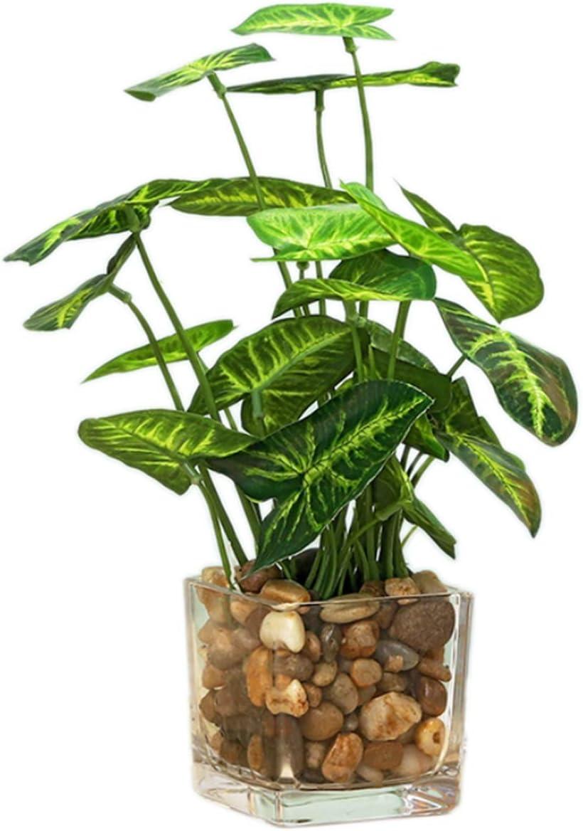 Artificial Plants,Fake Plants Room Decor Artificial Green Fake Plant Artificial Plants in Pots for Home Decor Indoor ,Garden Office Wall Decoration Artificial Fake Plants (Taro Leaves)
