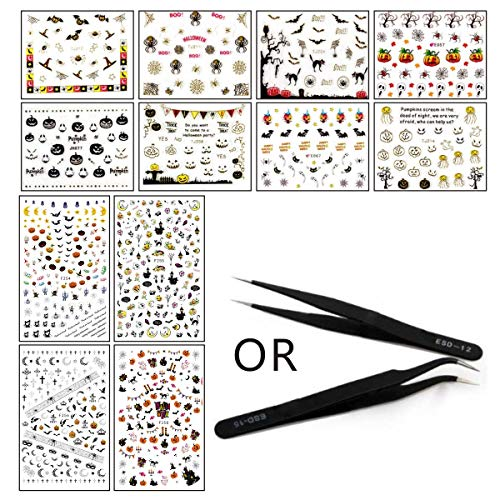 GG Smida 12 Sheets Halloween Nail Stickers with a Tweezer - 3D Design Self Adhesive Nail Art Sticker Decals Tattoo Manicure DIY Decor for Fingernails -