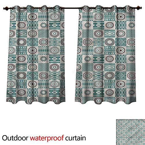 (cobeDecor Afghan 0utdoor Curtains for Patio Waterproof Ethnic Circles Stripes W108 x L72(274cm x 183cm))