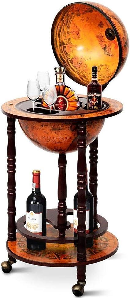 Costway Mappamondo Bar Con Ruote Mobili Porta Liquori Stile Retro 88 X 45 X 45cm Marrone Amazon It Casa E Cucina
