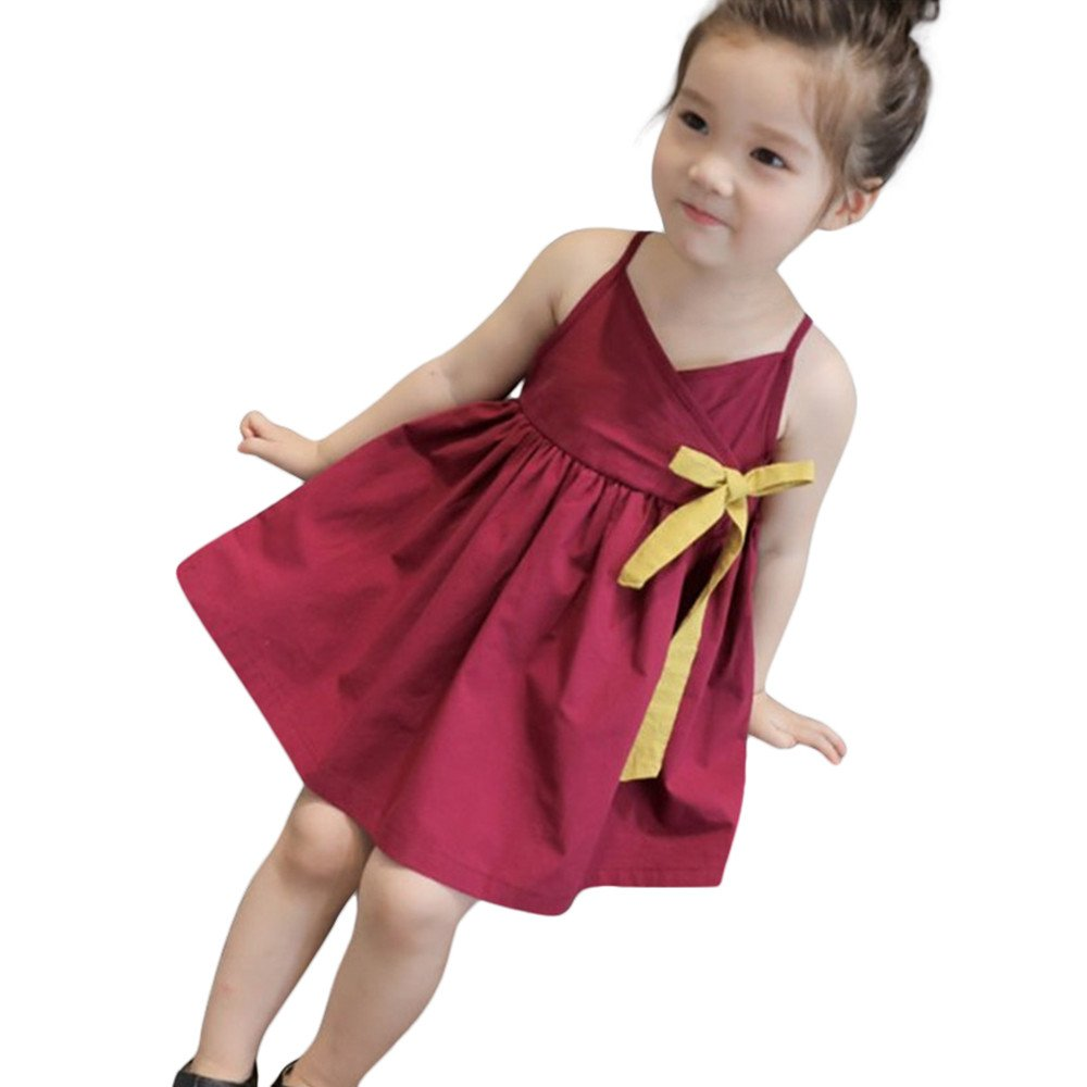 pengchengxinmiao Summer Strap Princess Dress for Kids Toddler Baby Girls Beach Party Wedding Casual Sundress Sleeveless Solid Loose (Wine, 120)