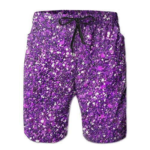Doppyee Glitter Sparkles Shimmer Printing Men's Yoga Board Short, Soft Short Swimming Beach Pants,Surf Sweat Pants With Pockets