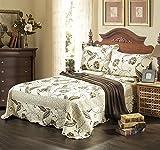Tache 3 Piece Floral Seasons Eve Reversible Bedspread Quilt Set, Queen