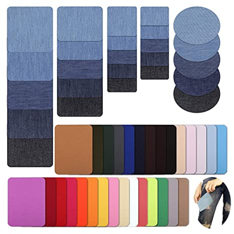 MEJOSER Bügelflicken Flicken Zum Aufbügeln Jeans 54 Stück Denim Baumwolle Patches zum Aufbügeln Aufbügelflicken Bügelflicken Jeans Flicken für