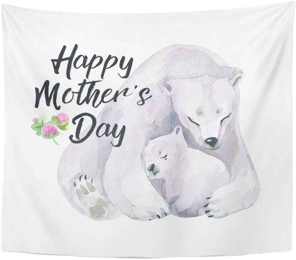 Emvency Tapestry Black Cartoon Watercolor for Mothers Day Hand Realistic Animals White Polar Bear with Baby Green Home Decor Wall Hanging for Living Room Bedroom Dorm 50x60 Inches