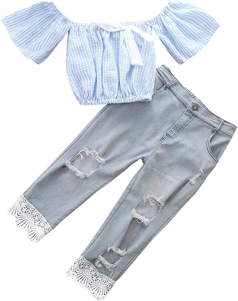 Kids Girls Striped Off-shoulder Tops and Hole Denim Pants Outfits