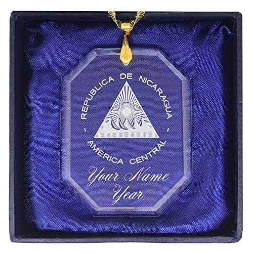 Ornament, Flag of Nicaragua, Personalized Engraving Included (Rectangle Shape) ()