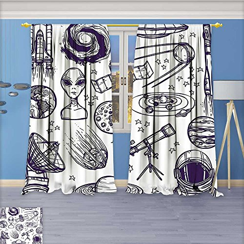 """AmaPark 70% Blackout 2 Panels Curtains,Graphic Satellite Orbit Radar Saturn Telescope White Thermal Insulated Drapes for Bedroom,108""""W By 84""""L Pair"""