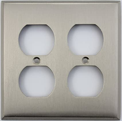 Satin Nickel 2 Gang Duplex Outlet Wall Plate