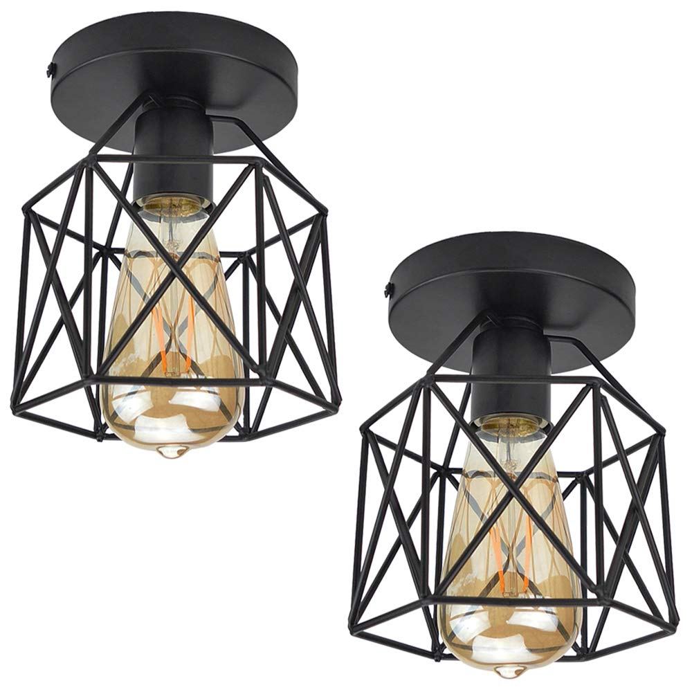 ZHMA Semi Flush Mount Ceiling Light Fixture for Farmhouse Kitchen, Hallway, Porch etc,Black Rustic Industrial Style, Ceiling Light Covers for E26 Bulb.2 Pack