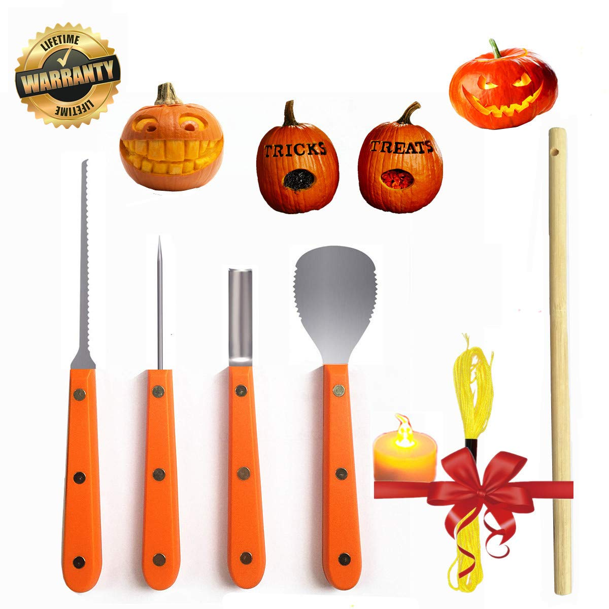 Pumpkin Carving Kit Professional Tools Stainless Steel LED Candle Wood Stick Light String Set Halloween Decoration Accessories carving set
