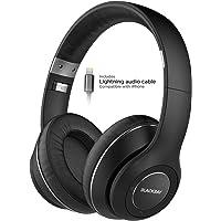 Thore Bluetooth Over Ear iPhone Headphones - Lightning Connector (Apple MFi Certified) Noise Isolating Wireless Earphones w/Mic (Memory Foam Comfort w/Extended Battery) V550 Blackbay Series - Black