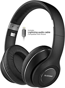 Thore Bluetooth Headphones w/Lightning Connector for iPhone - MFi Certified by Apple (Over-Ear) Memory Foam Wireless Earphones for iPhone 7 8, iPhone XR, XS Max, 11 Pro - Black (Retail Packaging)