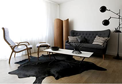 Amazon Com Genuine Natural Black Skin Cowhide Rug Superior Quality