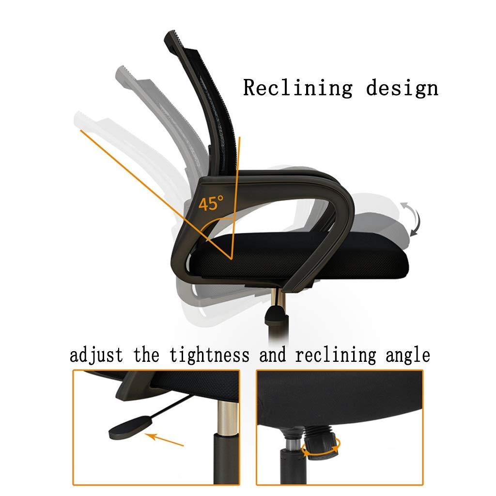 ZZHZY BBGS kontorsnät ergonomisk datorstol med ländrygg stöd armstöd mitt bak 360° rullande svängbar justerbar höjd möte stolar (färg: Svart svampkudde) Black-sponge Cushion