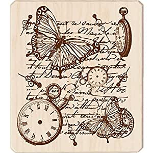 Inkadinkado Mounted Rubber Stamp, 4 by 3.5-Inch, Time Flies Collage