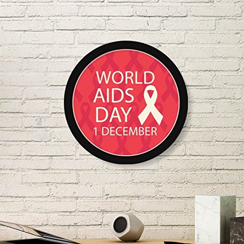(DIYthinker Solidarity Symbol 1st December World AIDS Day Red Ribbon HIV Awareness Round Simple Picture Frame Art Prints of Paintings Home Wall)