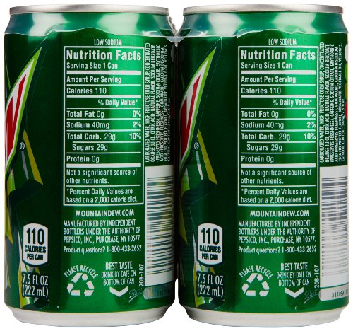 mountain dew diet carbs