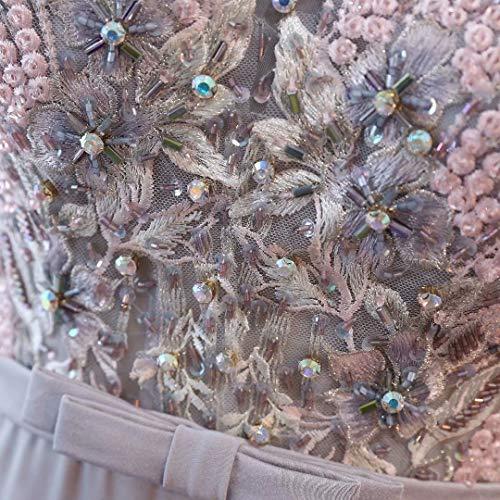 Frauen Ausschnitt Abendkleid Perlen Formale V Helles Hohe Split Lila Spitze der Ballkleider Lange tgCfqw1q