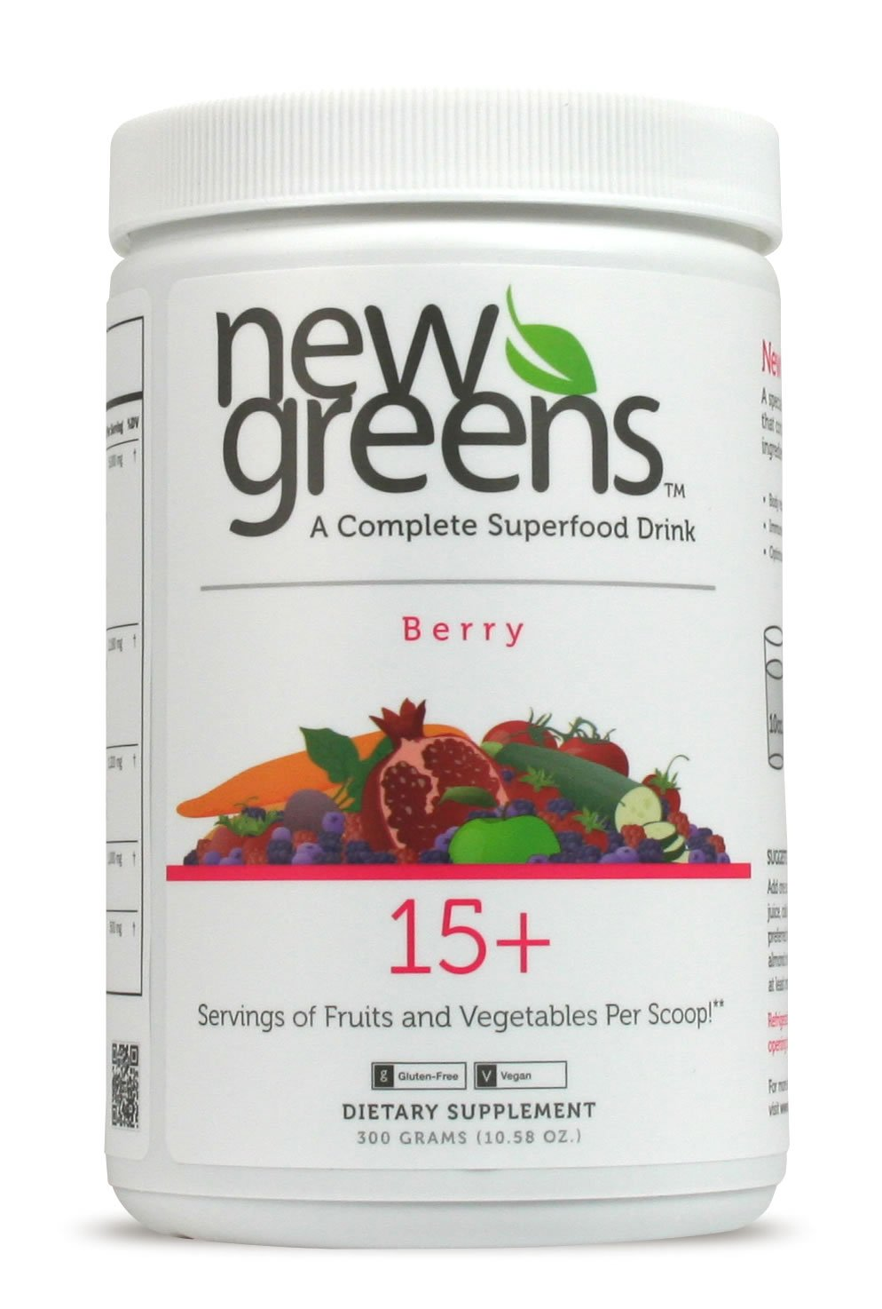 New Greens   Green Superfood Powder   54 Active Antioxidant Ingredients   Juice & Smoothie Drink with Herbal, Enzyme & Fiber Blends   Berry Flavor   Non-GMO, Vegan & Gluten Free.