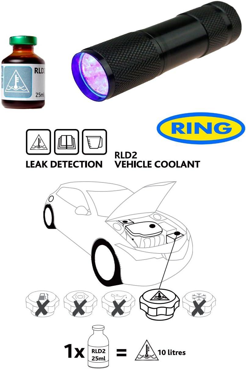 Fluido de detección de fugas de Dye & linterna UV Kit UV para Coche Sistema de refrigeración anticongelante RLD2