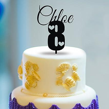 Amazoncom Kiskistonite 8th Cake Toppers Custom Name 8 Happy