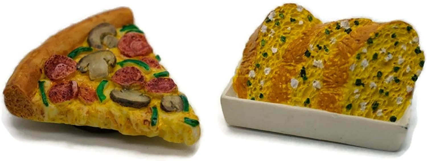 Vintage Magnet Mix Pizza and Garlic Bread Recipe Fast Food Dollhouse Miniature Kitchen Food Supply