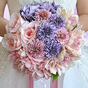 Wedding Bride Bouquet Holding Flowers With Beautiful Ribbon Bridal Bridesmaid Wedding Bouquet Artificial Silk Flowers Hand Holding 13