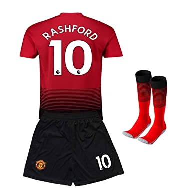 brand new 211cb c1a56 Manchester United 10# Rashford Kids/Youth Home Soccer Jersey & Shorts &  Socks 2018-2019 Season Red