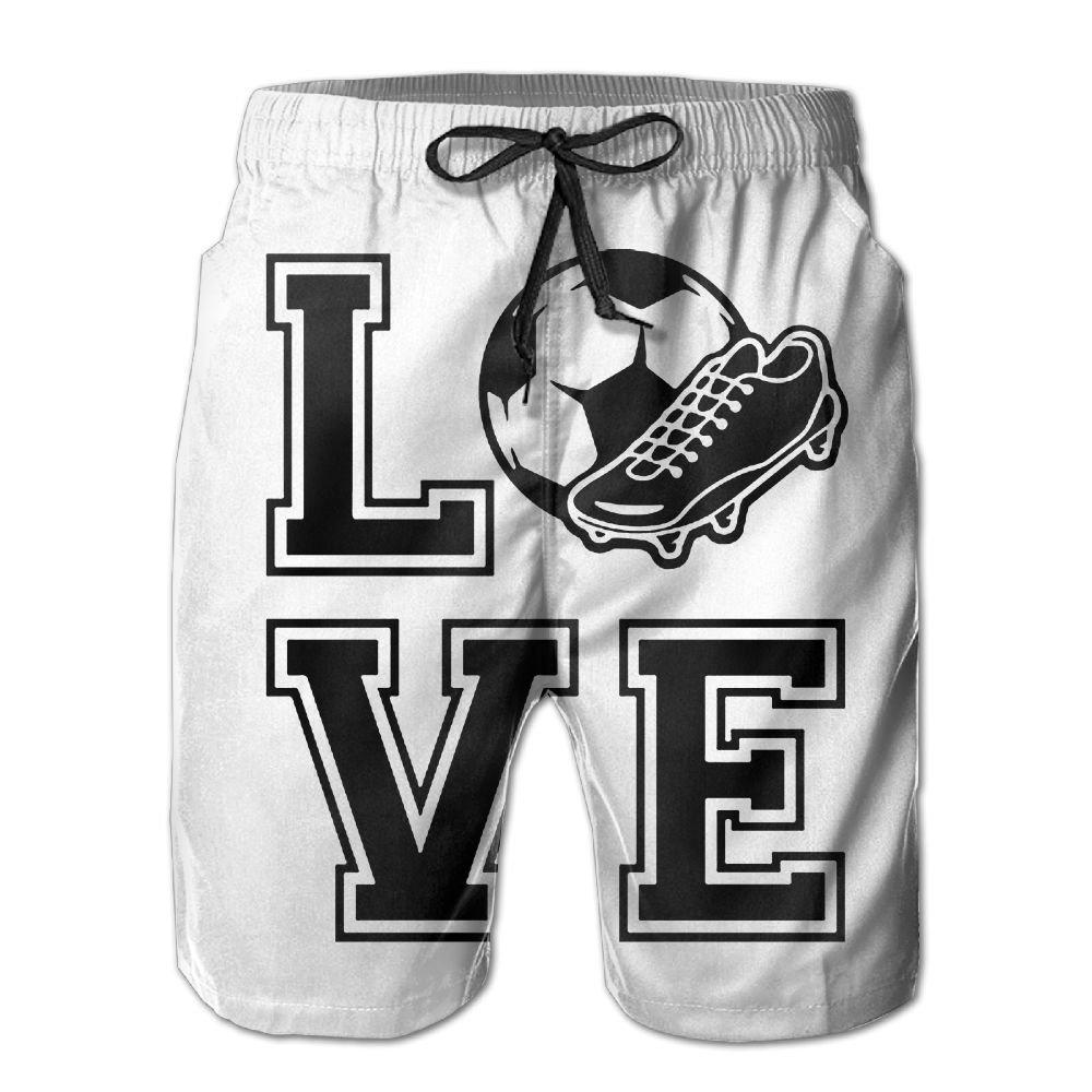 Mens Quick-Dry Swimwear Love Soccer Shoes Swim Trunks Board Beach Shorts