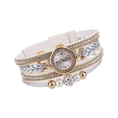 Deanyi Reloj de cuarzo cristalinas de múltiples capas que teje Reloj exquisito reloj pulsera joyería de la cadena del reloj Mujer Las niñas con batería ...