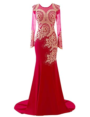 Erosebridal Mermaid Long Sleeves Evening Dresses Gold Appliques Ball Gown UK 18 Red