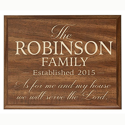 Personalized As for Me and My House We Will Serve the Lord Wall Décor Plaque Joshua 24:15 Custom Engraved with Family Name and Year Established By Dayspring Milestones (Walnut, 12×15)