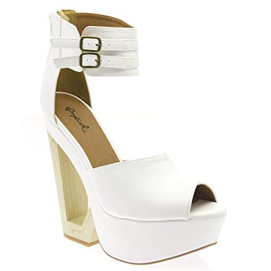 2d2b03de3a4 Qupid Womens BULLET04 Open Peep Toe Cut Out Wooden Platform Wedge Strappy Ankle  Strap Zipper High
