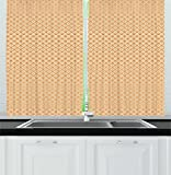 Ambesonne Retro Kitchen Curtains, Continuous Orange Wavy Pattern with Elliptic Dots Curvy Symmetric Vintage Design, Window Drapes 2 Panels Set for Kitchen Cafe, 55 W X 39 L Inches, Orange Cream Review
