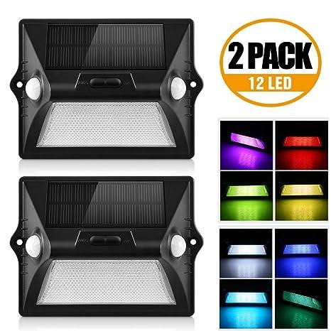 AGM Luz Solar Pared 12 LED Lámpara de Pared Exterior 180 ° Amplio ...