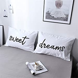 WINLIFE Couples Pillowcases Microfiber 300-Thread-Count Pillow Covers for Wedding Lovers Pillow Cases (Standard, Set of 2, Sweet&Dreams)