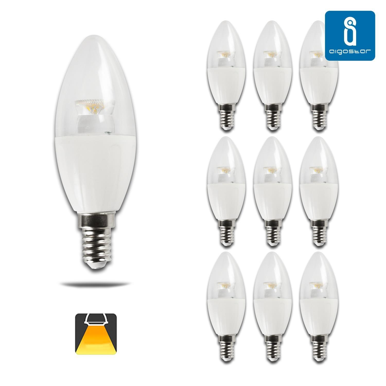 Aigostar - 182717 - pack de 10 bombillas led c5 c37 tipo vela de 6 watios, casquillo fino (e14), 380 lumen y luz calida (3000k): Amazon.es: Hogar