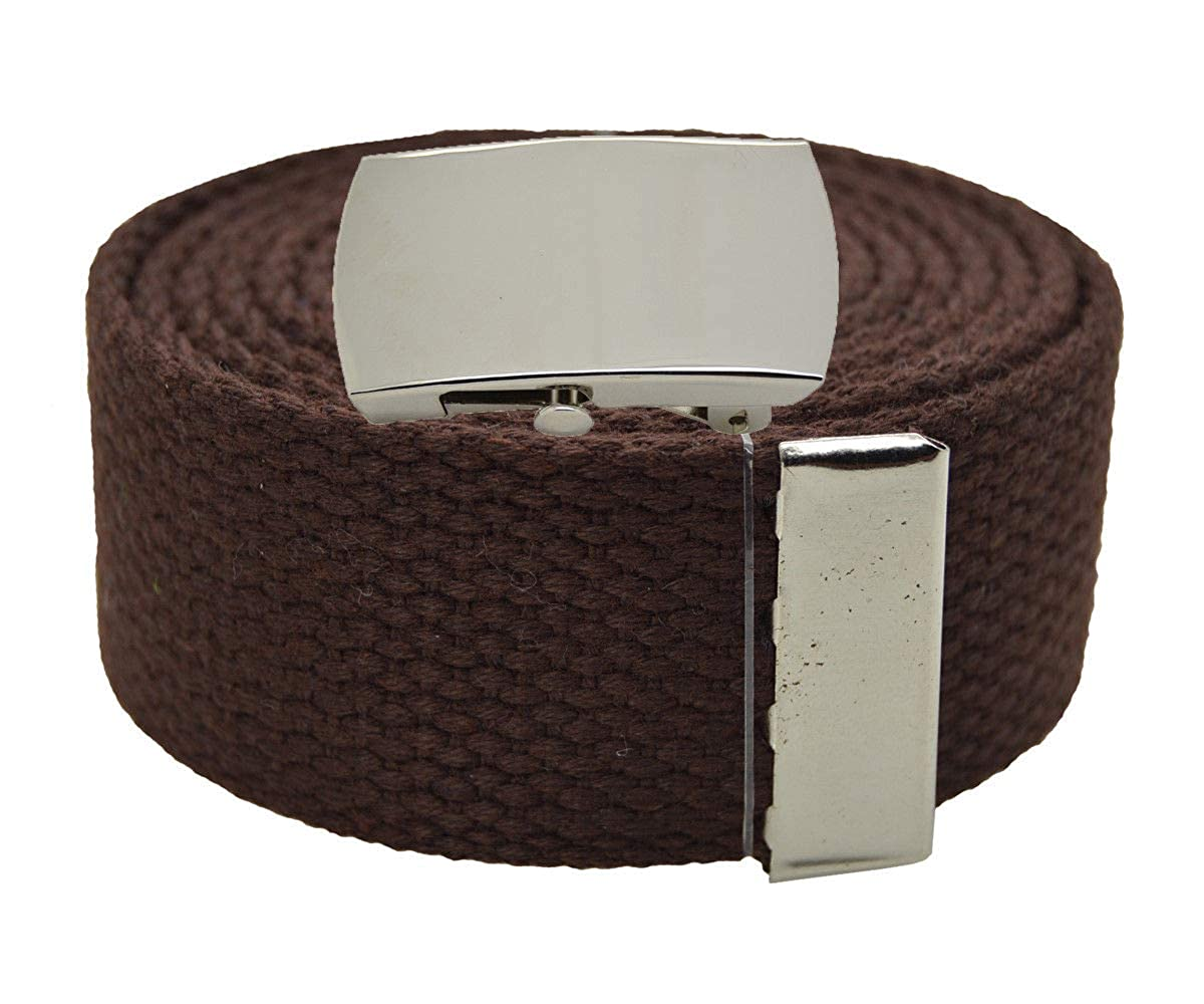 BROWN #AAAS Top Quality Canvas Military Web Belt /& BIGPlain Silver Buckle 54