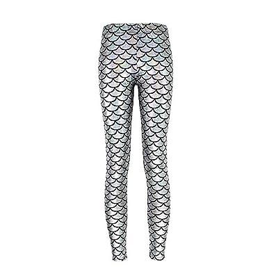 Sirena De La Mujer Impresión Digital Stretch Elástico Shiny Pantalones Leggings Cintura Elástica Color Sólido Pantalones Casuales Leggings (Color : Silver, Size : 2XL): Ropa y accesorios